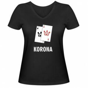 Damska koszulka V-neck Korona