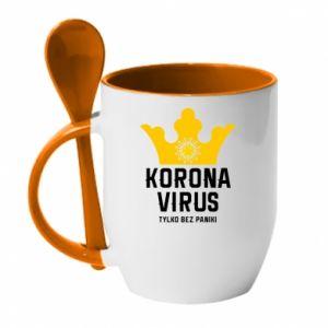 Kubek z ceramiczną łyżeczką Koronawirus