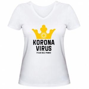 Damska koszulka V-neck Koronawirus