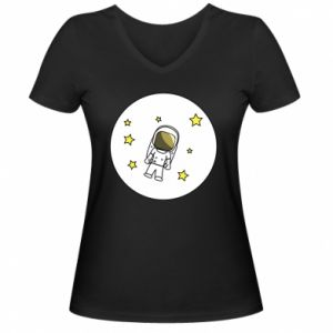Damska koszulka V-neck Kosmonauta