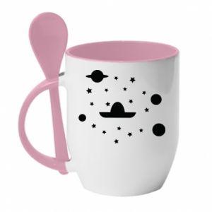 Mug with ceramic spoon Cosmos and Sambrero - PrintSalon