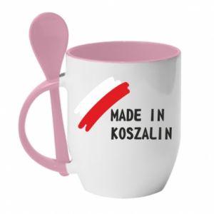 Kubek z ceramiczną łyżeczką Made in Koszalin
