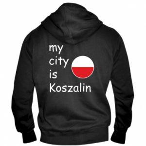Męska bluza z kapturem na zamek My city is Koszalin - PrintSalon