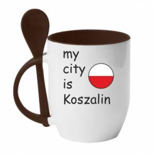 Kubek z ceramiczną łyżeczką My city is Koszalin - PrintSalon