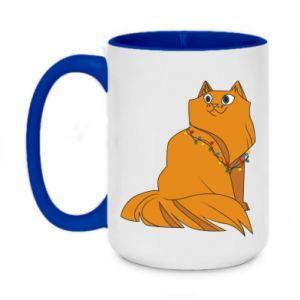 Two-toned mug 450ml Christmas cat