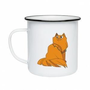 Enameled mug Christmas cat