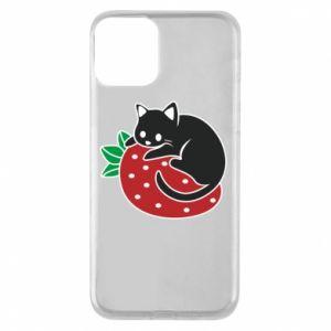 Etui na iPhone 11 Kot na truskawce