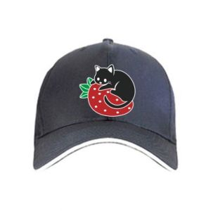 Cap Cat on strawberry
