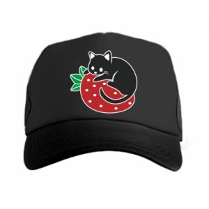 Trucker hat Cat on strawberry