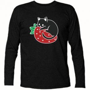 Koszulka z długim rękawem Kot na truskawce