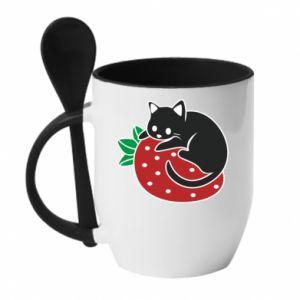 Kubek z ceramiczną łyżeczką Kot na truskawce