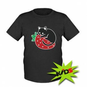 Dziecięcy T-shirt Kot na truskawce