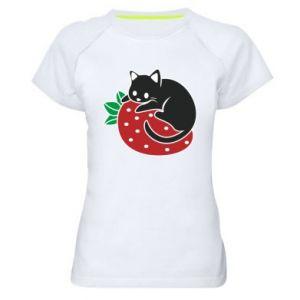 Damska koszulka sportowa Kot na truskawce
