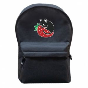 Backpack with front pocket Cat on strawberry