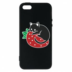 Etui na iPhone 5/5S/SE Kot na truskawce