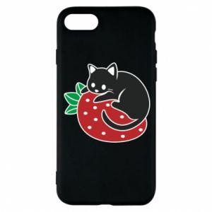 Etui na iPhone 8 Kot na truskawce