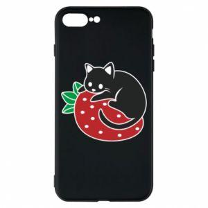 Etui na iPhone 8 Plus Kot na truskawce