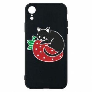 Etui na iPhone XR Kot na truskawce
