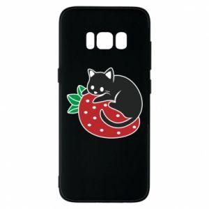Etui na Samsung S8 Kot na truskawce