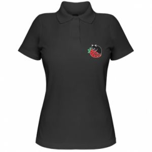 Damska koszulka polo Kot na truskawce