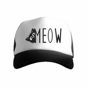 Czapka trucker dziecięca Kot napis Meow