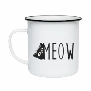Kubek emaliowane Kot napis Meow