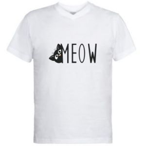 Men's V-neck t-shirt Cat inscription Meow