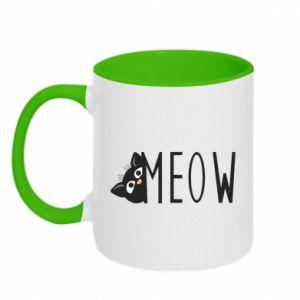 Kubek dwukolorowy Kot napis Meow