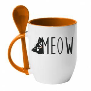 Kubek z ceramiczną łyżeczką Kot napis Meow