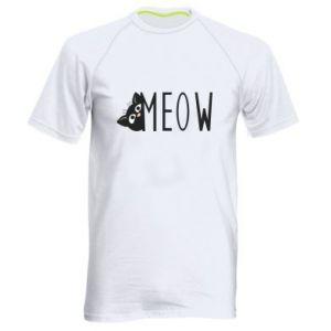 Męska koszulka sportowa Kot napis Meow
