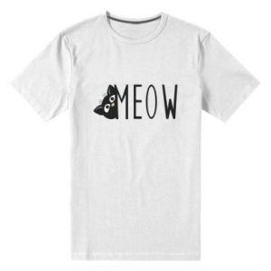Męska premium koszulka Kot napis Meow