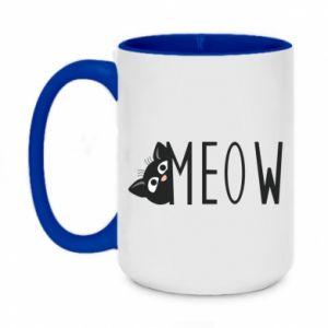 Two-toned mug 450ml Cat inscription Meow