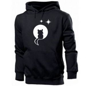 Men's hoodie The cat sits on the moon