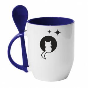 Mug with ceramic spoon The cat sits on the moon - PrintSalon