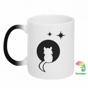Chameleon mugs The cat sits on the moon