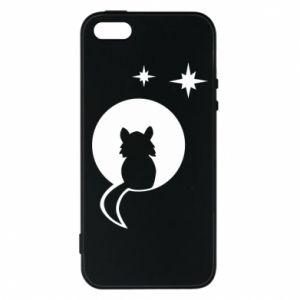 Etui na iPhone 5/5S/SE Kot siedzi na księżycu