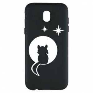 Phone case for Samsung J5 2017 The cat sits on the moon - PrintSalon