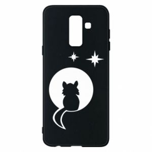 Phone case for Samsung A6+ 2018 The cat sits on the moon - PrintSalon