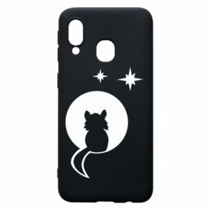 Phone case for Samsung A40 The cat sits on the moon - PrintSalon