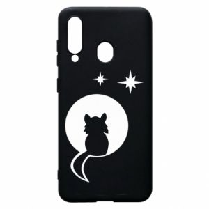 Phone case for Samsung A60 The cat sits on the moon - PrintSalon