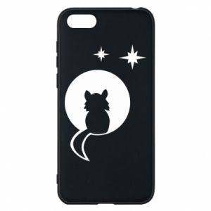 Phone case for Huawei Y5 2018 The cat sits on the moon - PrintSalon
