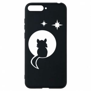 Phone case for Huawei Y6 2018 The cat sits on the moon - PrintSalon