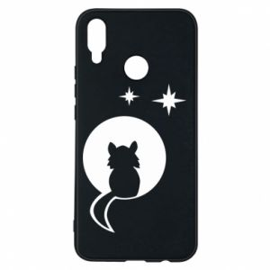Phone case for Huawei P Smart Plus The cat sits on the moon - PrintSalon