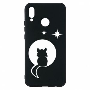 Phone case for Huawei P20 Lite The cat sits on the moon - PrintSalon