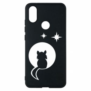 Phone case for Xiaomi Mi A2 The cat sits on the moon - PrintSalon