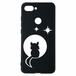 Phone case for Xiaomi Mi8 Lite The cat sits on the moon - PrintSalon