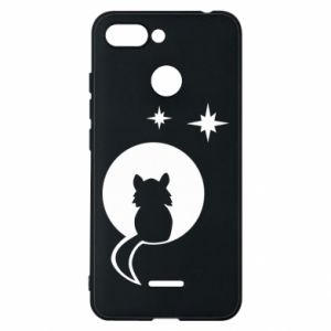 Phone case for Xiaomi Redmi 6 The cat sits on the moon - PrintSalon
