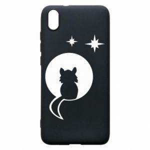 Phone case for Xiaomi Redmi 7A The cat sits on the moon - PrintSalon