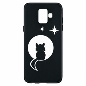 Phone case for Samsung A6 2018 The cat sits on the moon - PrintSalon