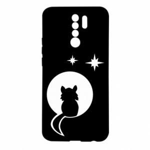 Etui na Xiaomi Redmi 9 Kot siedzi na księżycu